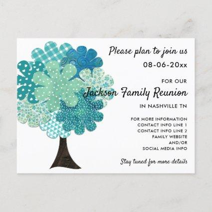 Pattern Family Reunion Tree 2-Sided Save the Date Announcements Cards