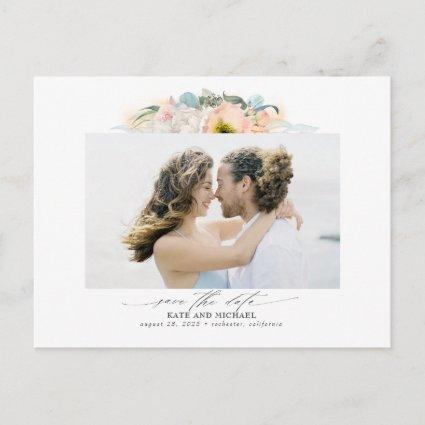 Peach and Pink Flowers Save the Date Photo Announcement