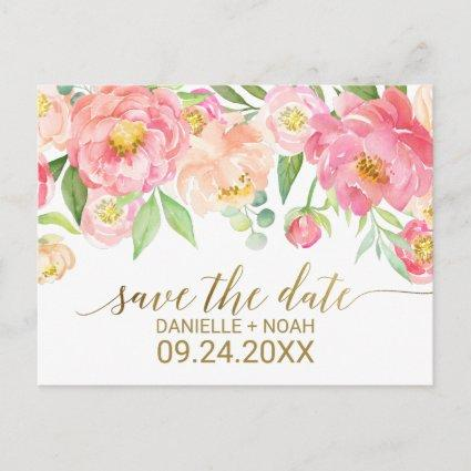 Peach and Pink Peony Flowers Wedding Save the Date Announcement