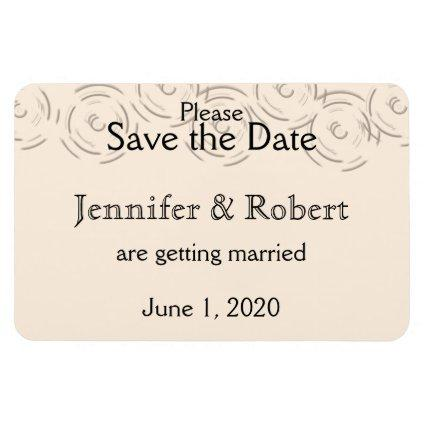 Peach Art Deco Circles Wedding Save the Date Magnet