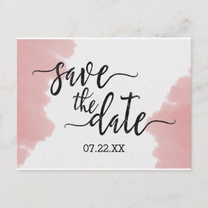 Peach Coral Watercolor Wedding Save the Date Announcement