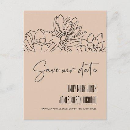 PEACH DESERT CACTI SUCCULENT SKETCH SAVE THE DATE ANNOUNCEMENT