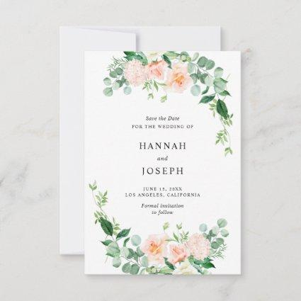 peach floral save the date card
