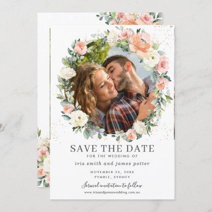 Peach Ivory Pink Floral Photo Save the Date Card