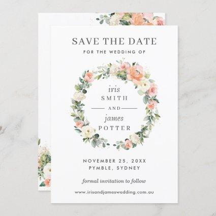 Peach Ivory Pink Floral Wedding Save the Date Card