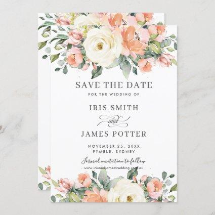 Peach Pink Ivory Floral Wedding Save the Date Card