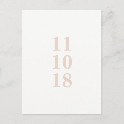 Peach pink typography save the date Cards