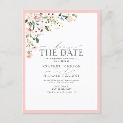 Peach Pink Watercolor Floral change The Date Holiday
