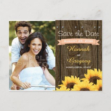 PEACH RUSTIC SUNFLOWER SAVE THE DATE Cards