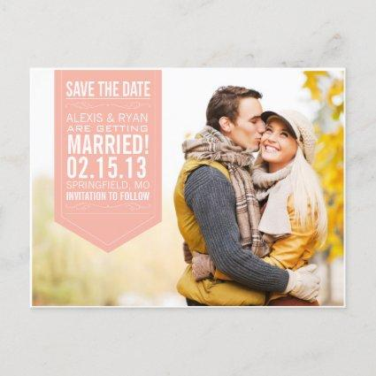 Peach Save The Date Announcements Cards