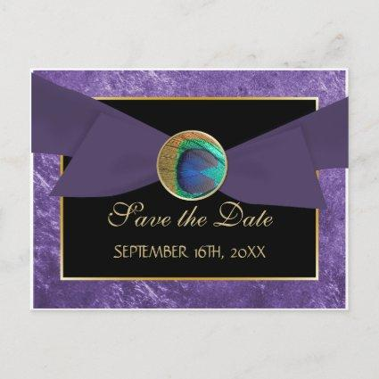 Peacock Button & Bow SAVE THE DATE Cards-Blue Announcements Cards