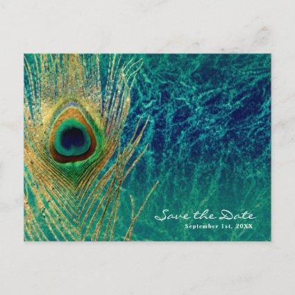 Peacock Feather Blue Teal Gold Glam Save the Date Announcement