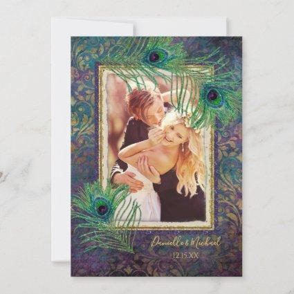 Peacock Feather Glitter Purple Photo Save the Date