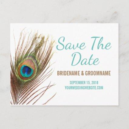 Peacock Feather Save The Date Announcement