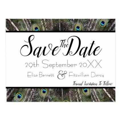 Peacock Feather Save the Date Cards