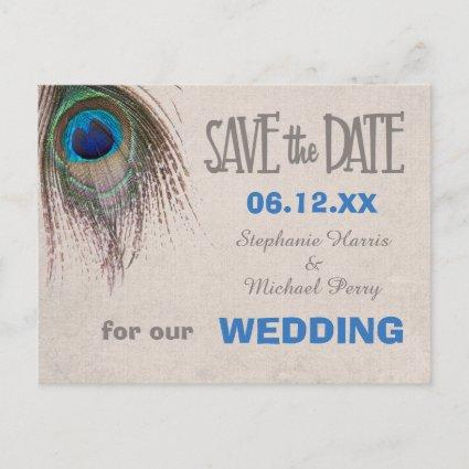 Peacock Feather Save the Date Wedding