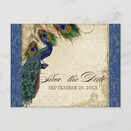 Peacock & Feathers Formal Save the Date Navy Blue Announcement