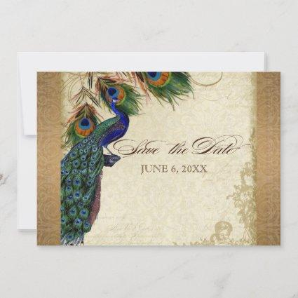 Peacock & Feathers Vintage Gold Look Damask  Swirl Save The Date