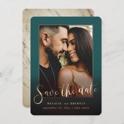 Peacock Green Gold Script & Marble Photo Overlay Save The Date