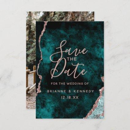 Peacock Green Rose Gold Agate Marble Photo on Back Save The Date