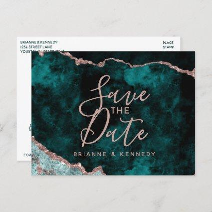 Peacock Green Rose Gold Agate Marble Save the Date Announcement
