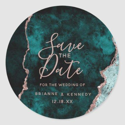 Peacock Green Rose Gold Agate Marble Save the Date Classic Round Sticker