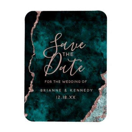 Peacock Green Rose Gold Agate Marble Save the Date Magnet