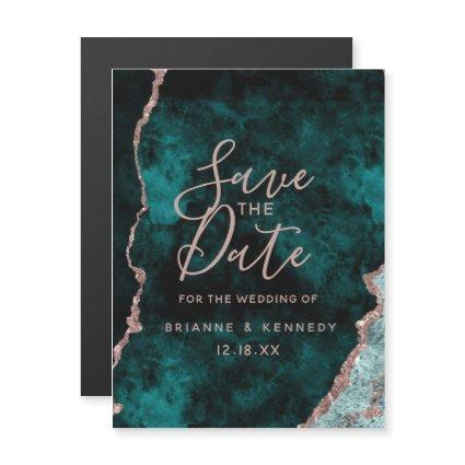 Peacock Green Rose Gold Agate Marble Save the Date Magnetic Invitation