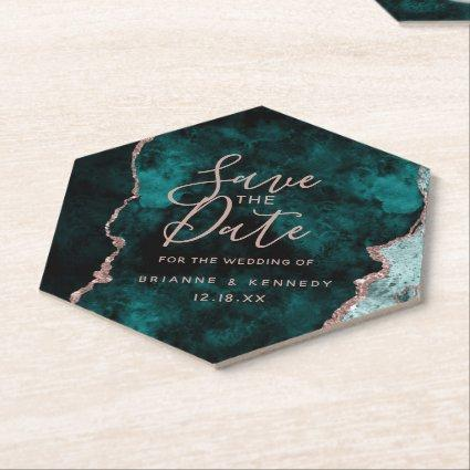 Peacock Green Rose Gold Agate Marble Save the Date Paper Coaster