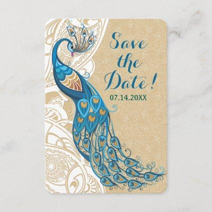 Peacock Lace Elegance Wedding Save The Date Invitation