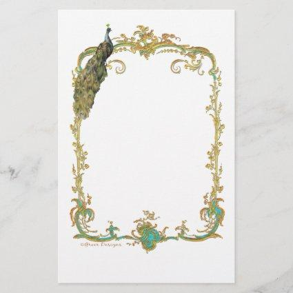 Peacock with Gold Frame Ornate Stationery