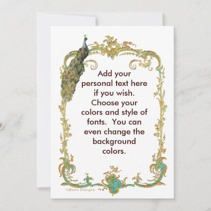 Peacock with Gold Frame Ornate Stationery Note Card