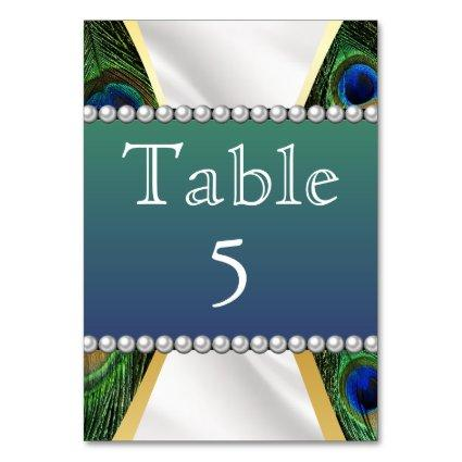 Peacock with Gold Silver Drapery Table Number