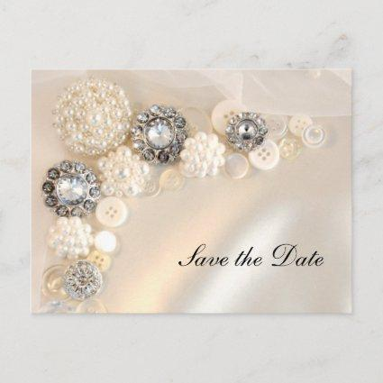 Pearl Diamond Buttons Quinceañera Save the Date Announcement