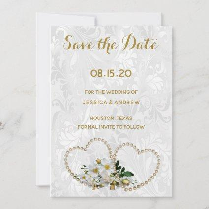 Pearl Hearts & Flower Damask Wedding Save The Date