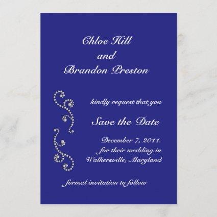 Pearls and Sapphire Blue Save the Date