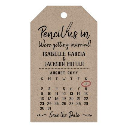 Pencil Us In Calendar Wedding Save the Date Invite Gift Tags