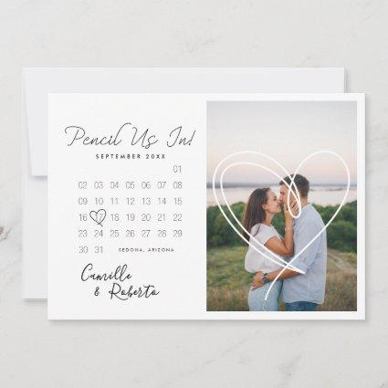 Pencil Us In Modern Minimal Calendar Couple Photo Save The Date