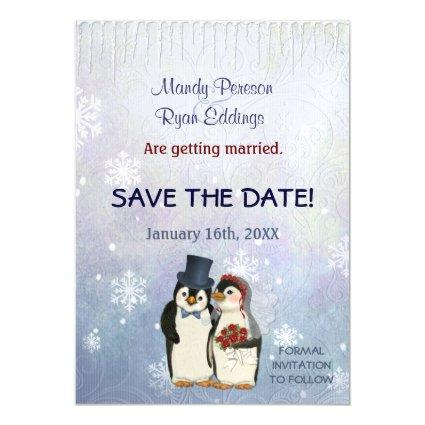 Penguin Winter Snowflakes Wedding Save The Date Magnetic Invitation