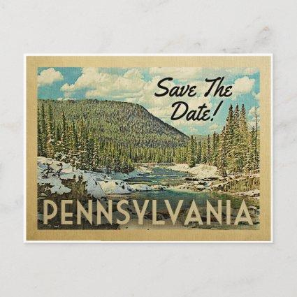 Pennsylvania Save The Date Mountains River Snow Announcement