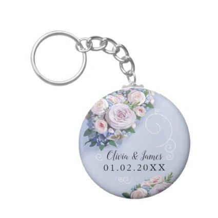 Peony Rose Couple Wedding Favors Elegant Keychain