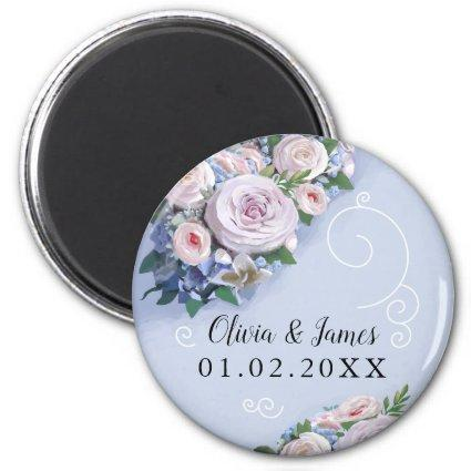 Peony Rose Couple Wedding Favors Elegant Magnet
