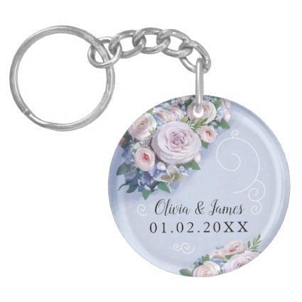 Peony Rose Couple Wedding Favors Floral Keychain