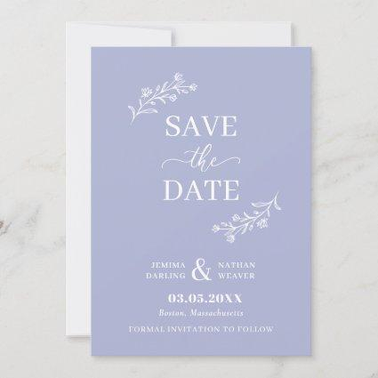 Periwinkle Blue White Hand-Drawn Floral Twigs Save The Date