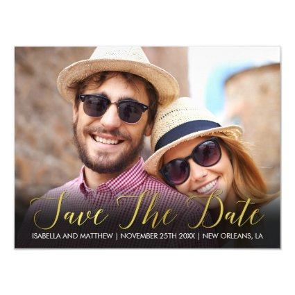 Personal Antique Gold Photo Template Save The Date Magnetic Invitation