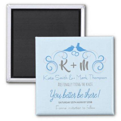 Personalised Wedding Save Date Magnets Blue Doves