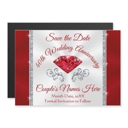 Personalize 40th Anniversary Save the Date Magnets
