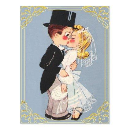 Personalized cartoon bride and groom Cards