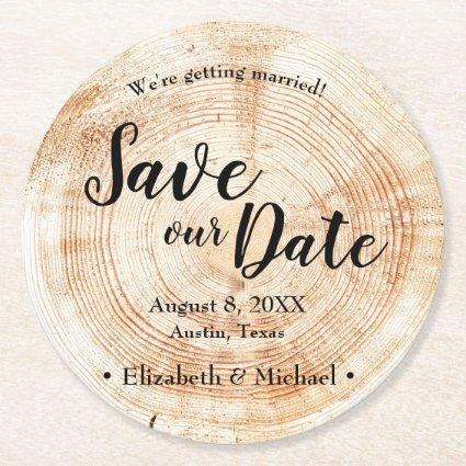 Personalized Rustic Save our date Printed Wood Round Paper Coaster