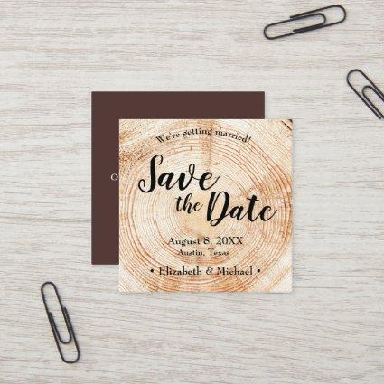Personalized Rustic Save the date Printed Wood Square Business Card